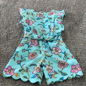 Genuine Kids Aqua Floral Toddler Girls Romper 4t